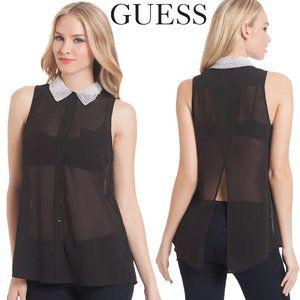 GUESS Pearl Collar Simona Sheer Top Size XS
